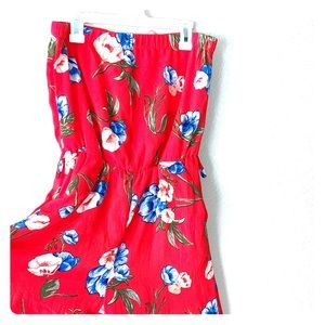Strapless Red & Blue Floral Jumpsuit Size Small